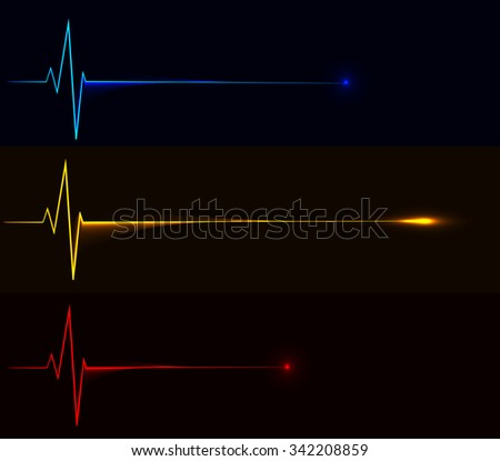 Competition concept, pulse lines racing with the winner line ahead. Heartbeat of the victory vector illustration - stock vector