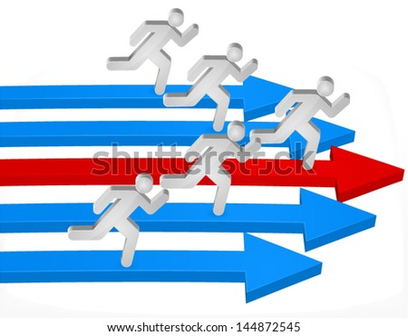 Competition concept - Running man - stock vector