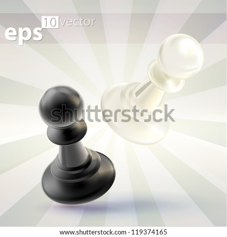Competition conception: collision of two black and white chess figures, pawns, eps10 vector icon emblem composition - stock vector