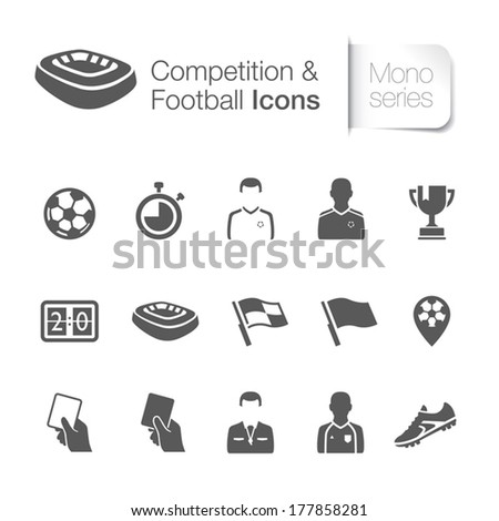Competition & football related icons - stock vector