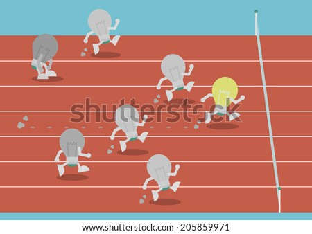 competition of lightbulb. the most powerful lightbulb is winner, competitive concept - stock vector