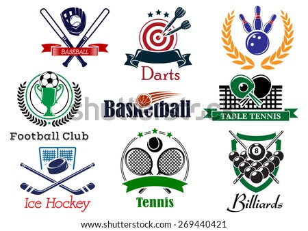 Competition sporting logo and emblems based on heraldic elements with football or soccer, ice hockey, darts, basketball, billiards, tennis, bowling, baseball, table tennis, wreath and trophy cup