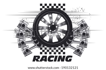 competition tires with pistons - stock vector