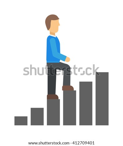 Competitive advantage fast career track competition business success concept vector. Career track business success and career track people start man. Athlete corporate competitive career track. - stock vector
