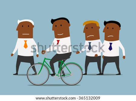 Competitive and skills advantages or business competition concept. Confident smiling cartoon dark skinned businessman riding on bicycle and leaving his competitors behind - stock vector
