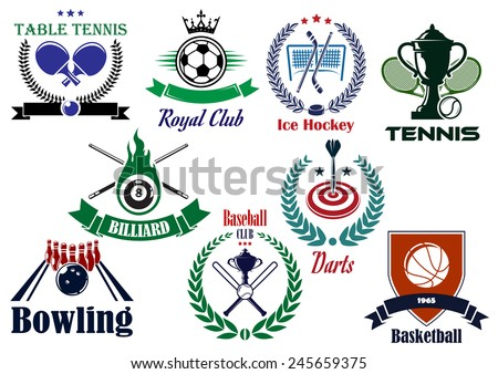 Competitive sports heraldic design elements for football or soccer, ice hockey, darts, basketball, billiards, bowling, baseball and table tennis with shield, wreaths and ribbon banners