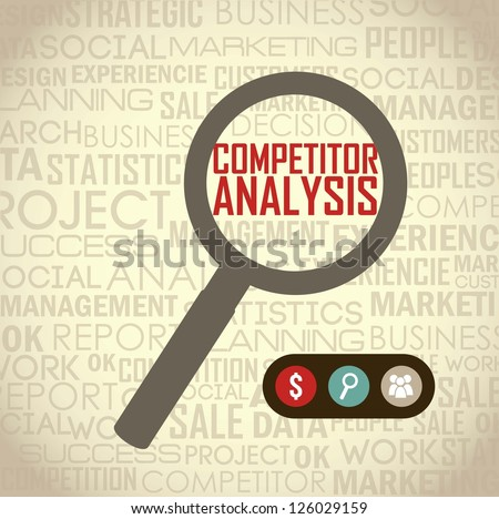 competitor analysis illustration with magnifying glass. vector background - stock vector