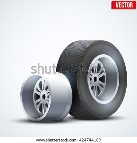 Complect Car tires and wheel at warehouse. Vector Illustration isolated on white background - stock vector