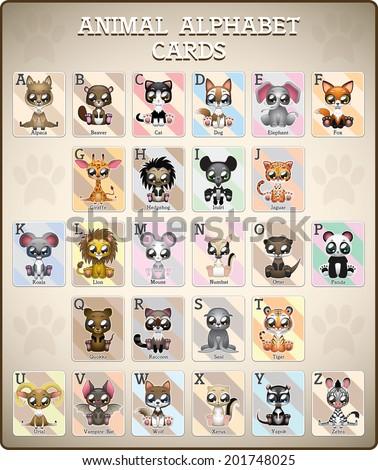 Complete animal alphabet cards ( A - Z ) - stock vector