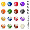 Complete Billiard Balls - stock vector