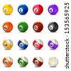 Complete Billiard Balls - stock vector