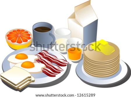 Complete breakfast, isometric-style illustration: bacon, eggs, bread, milk, pancakes, grapefruit, juice - stock vector