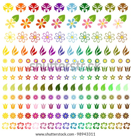 Complete collection of colorful spring flowers - stock vector