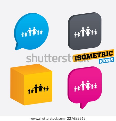 Complete family with many children sign icon. Large family symbol. Isometric speech bubbles and cube. Rotated icons with edges. Vector - stock vector
