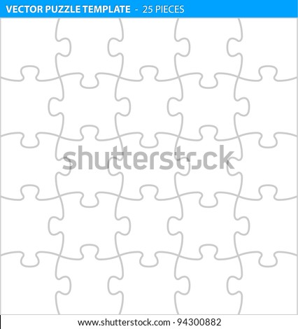 Complete puzzle / jigsaw template for print (25 pieces) - stock vector