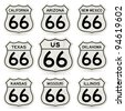 Complete Route 66 Signs Collection - stock vector