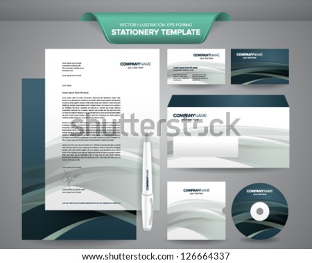 Complete set business stationery template such stock vector complete set of business stationery template such as letterhead envelope business card etc reheart Choice Image