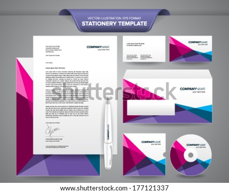 Complete set business stationery templates such stock photo photo complete set of business stationery templates such as letterhead envelope business card etc reheart Images