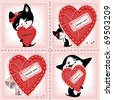complete set of cards. Valentines Day. heart and a kitten 2. Similar in a portfolio - stock vector