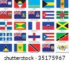 Complete set of 25 Caribbean Countries Flags - stock photo