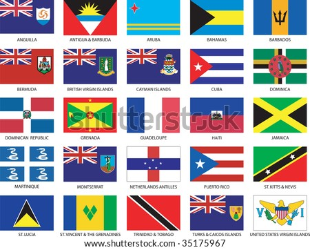 Complete set of 25 Caribbean Countries Flags