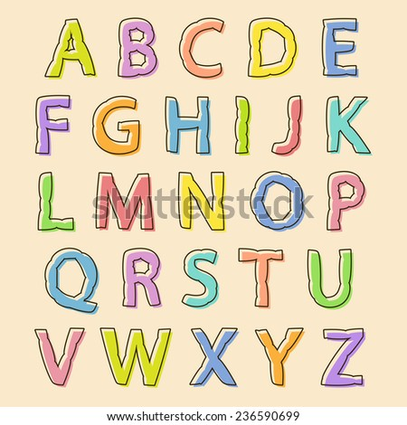 Complete set of colored uppercase alphabet letters with bloated irregular wavy outline for decorative text and scrapbooking, design element - stock vector