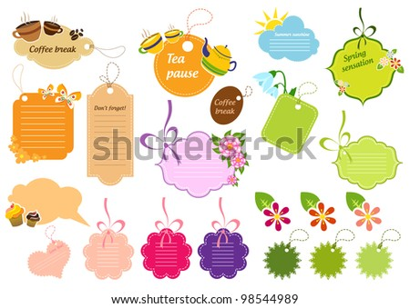 Complete set of colorful stickers and speech bubbles - stock vector