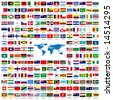 Complete set of Flags of the world sorted alphabetically with official colors and details - stock photo