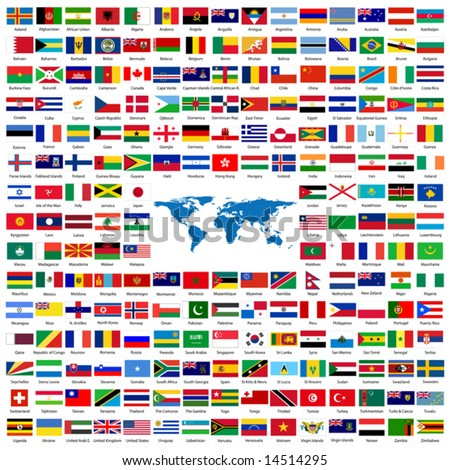 Complete set of Flags of the world sorted alphabetically with official colors and details - stock vector