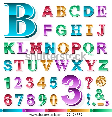 Complete set of metallic gradient colored alphabet and numbers in upper case font with various punctuation marks isolated on white for design elements, vector illustration