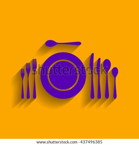 Complete set of silverware for dinner. Flat style black icon on white. - stock vector