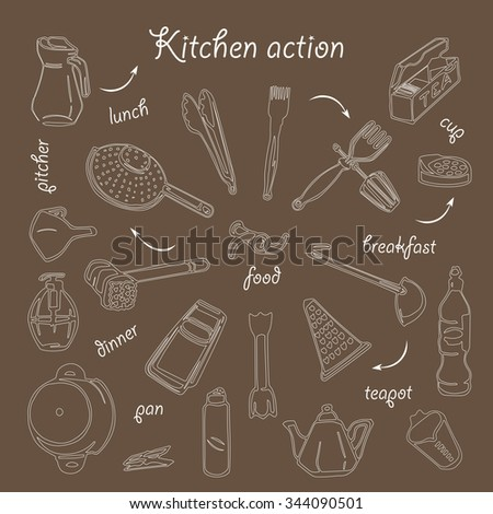 Complete vector set of all that can be useful in the kitchen hostess that should always be at hand stylized hand drawing - stock vector