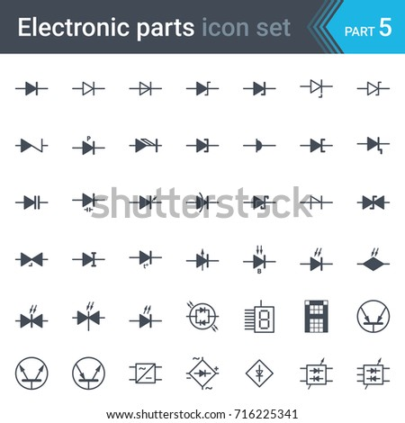 Complete vector set electric electronic circuit stock vector complete vector set of electric and electronic circuit diagram symbols and elements diodes and bridge asfbconference2016 Choice Image