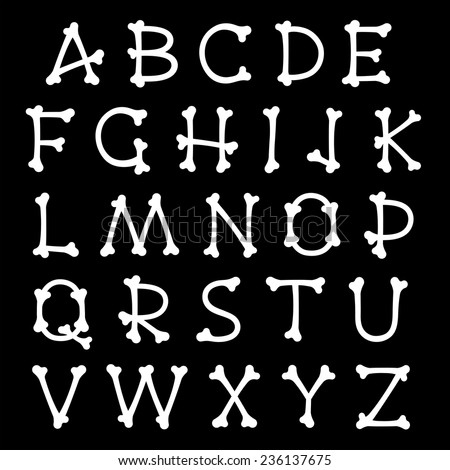 Complete vector set of white bones silhouettes uppercase alphabet letters isolated on black for Halloween, pirates, medical and horror concepts, design elements