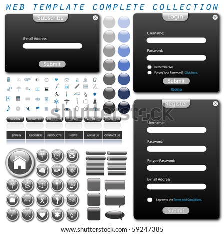 Complete web template with forms, bars, buttons, icons and chat bubbles.