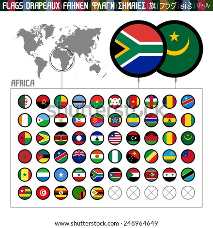 Complete world flag collection, outlined round shapes, Africa - stock vector
