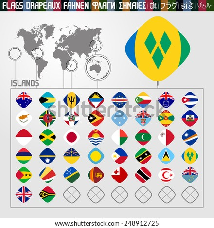 Complete world Flag collection, rhomb shapes, Island countries
