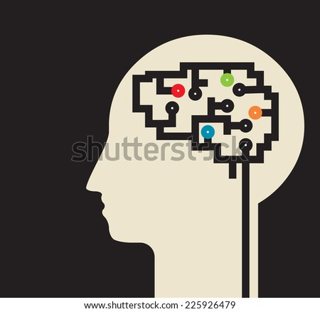 complex and various thoughts   inside the brain circuit  - stock vector
