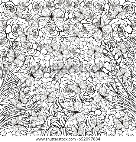 Complex Coloring Page Meditation Butterflies Flowers Stock Vector ...