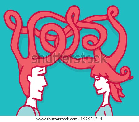 Complex connection between man and woman - stock vector