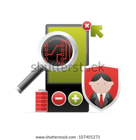 complex icon with the device - stock vector