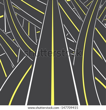 complex road, vector eps 10 background - stock vector