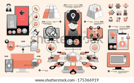complex set of infographics - stock vector