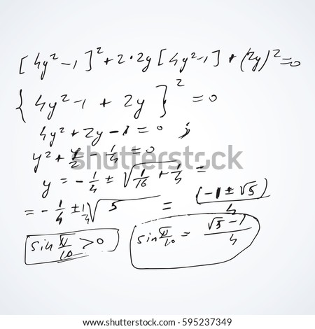 Complicate lab research derivatives manuscript complex test task plot isolated on white backdrop. Freehand linear black ink hand drawn draft in retro grungy scribble graph sketch style pencil on sheet
