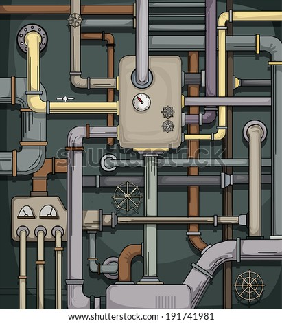 Complicated pipe system, with boiler, vector illustration - stock vector