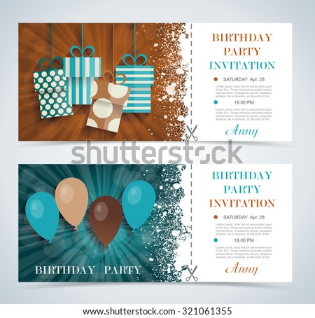 Complimentary ticket to a party on  birthday, various vector design. - stock vector