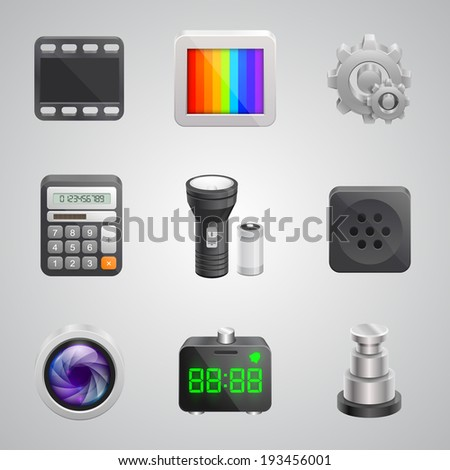 Components of the mobile phone, Technology icon 3d set, Vector illustration - stock vector