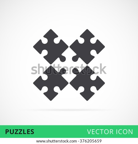 Composed puzzles vector icon, piled puzzles sign, puzzle shape vector icon, symbol of teamwork puzzle icon, black contour puzzle game silhouette, conundrum vector sign    - stock vector