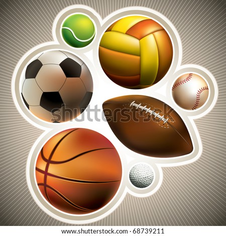 Composed set of different balls. Vector illustration. - stock vector