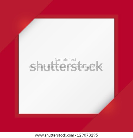 Composite empty page with places for photo or sample text on red color background. vector. - stock vector